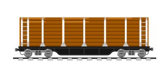 Railway wagon isolated on white background. Illustration. Railroad transport design element. Side view freight container. Cargo train on railroad. Rail carriage Royalty Free Stock Photo