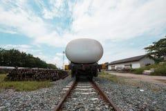 Railway wagon oil tanks standing Stock Photography