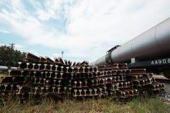 Railway wagon oil tanks standinga at lampang Royalty Free Stock Photos