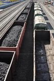 Railway. The cars of coal. Royalty Free Stock Photos