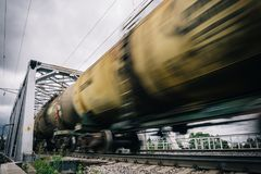 Railway wagons with motion blur effect. transportation, railroad Stock Images