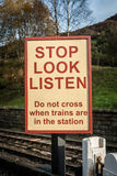 Railway Warning Sign Stock Images