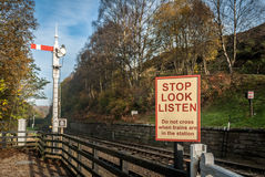 Railway Warning Sign Stock Photos