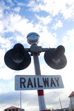 Railway warning traffic light. With blue sky Stock Photos