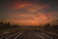 Railway way at the Dusk or in the Morning Royalty Free Stock Photography