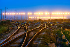 Railway. The way forward railway in the sunset royalty free stock photography