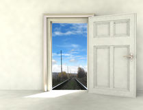 Railway way from white room photomontage Stock Images