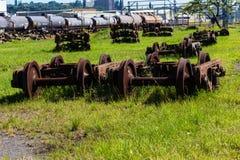 Railway Train Wheels Graveyard Stock Photo