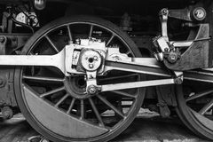 Railway wheels wagon. Behind the wheel. In BW Royalty Free Stock Photos