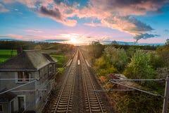 Railway whit sunrise Royalty Free Stock Photos