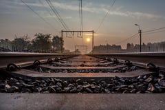 Railway whit sunsine Royalty Free Stock Photo