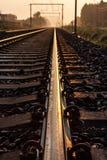 Railway whit sunsine Royalty Free Stock Photography