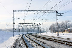 Railway at winter Royalty Free Stock Images