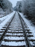 Railway in winter. Single-track railway line with snow in winter Royalty Free Stock Photos