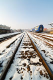 Railway in the winter Royalty Free Stock Photography