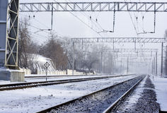 Railway winter Royalty Free Stock Photo