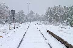 Railway in winter Royalty Free Stock Images