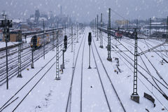 Railway in winter Royalty Free Stock Photos