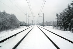 Railway in the winter Royalty Free Stock Images
