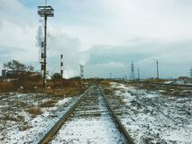 Railway in winter Stock Photography