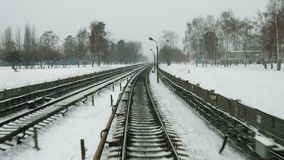 Railway in the winter. stock video