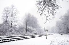 Railway in winter. Railway line near Kaliningrad, snow, frost Stock Photo