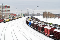 Railway in winter Royalty Free Stock Photo