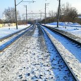 Railway in winter stock photo