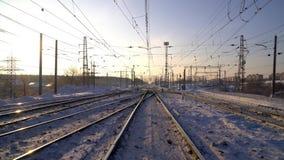 Railway. Winter Sunny morning stock footage