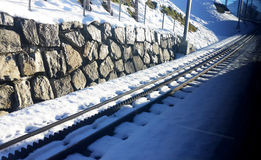 Railway. In the winter time royalty free stock photography