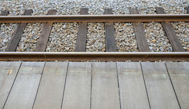 The Railway and wooden platform. 1 Stock Photos