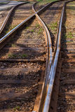 Railway with wooden sleepers. Royalty Free Stock Images
