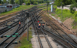 Railway workers Royalty Free Stock Photography