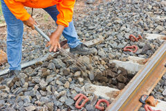 Railway Workers repairing railway Royalty Free Stock Images