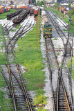 Railway Yard. Complex Series of Railroad Tracks for Sorting Rolling Stock stock photos