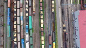 Railway yard with a lot of railway lines and freight trains, Rail freight marshalling yard, Russian Railways. stock footage