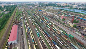 Railway yard with a lot of railway lines and freight trains, Rail freight marshalling yard, Russian Railways. stock video footage