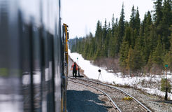 Railwayman. Trip in train from Anchorage to Fairbanks Stock Image
