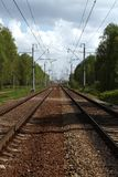 Railwayroad in the forest Royalty Free Stock Photography