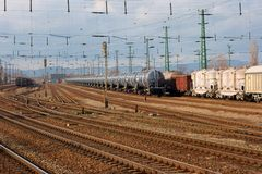 Railways. Complex railway track system with freight trains Stock Photos