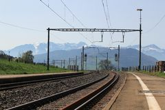 Railways and Alps mountain, Switzerland Royalty Free Stock Photo