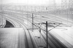 Railways and electrity poles Stock Image