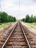 Railways Lines. Old wood rails in landscape. Rails ina the land Royalty Free Stock Photography