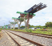 Railways and sky train structure construction use for government Stock Photo