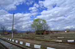Railways in spring setting Royalty Free Stock Image