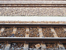 Railways track in trains station Royalty Free Stock Photography