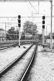 Railways in a train station Stock Photos