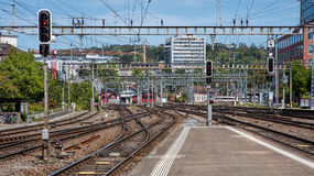 Railways of the Winterthur Main Station Royalty Free Stock Photography