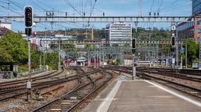 Railways of the Winterthur Main Station Royalty Free Stock Photography