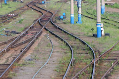 Railways with wooden sleepers, poles, grass and turnouts Royalty Free Stock Photography
